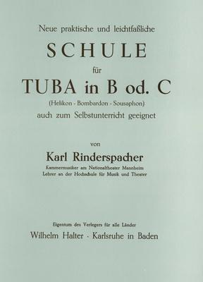 Musikverlag Wilhelm Halter Rinderspacher Schule Tuba B
