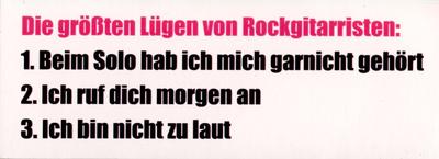 Bandshop Sticker Lügen Rockgitarristen