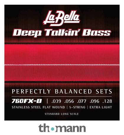 Extra Light La Bella 760FX-B Deep Talkin/' Bass Stainless Steel Flatwounds 5